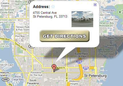 Map to the St Petersburg office of Scott and Fenderson Accident Injury Attorney
